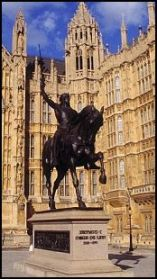 A statue of Richard the Lionheart is in front of the Houses of Parliament