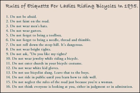 Rules for Bicycle-Riding Ladies
