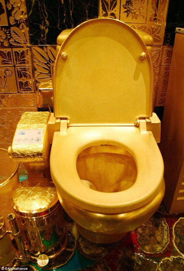 The 24k gold bowl is a feature of Hang Fung jeweler's solid gold bathroom in Hong Kong
