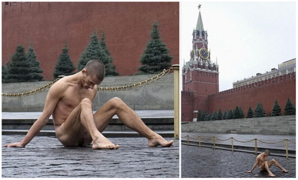Pyotr Pavlensky sitting naked outside Lenin's Mausoleum