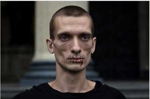 Pyotr Pavlensky sewn his lips together to demonstrate against the jailing of two female members of the Pussy Riot punk band who staged an anti-Kremlin performance inside Moscow's main cathedral in 2011.
