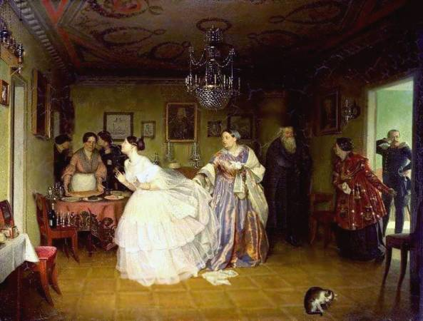 P. Fedotov  (1815 – 1852) Courtship of a Major
