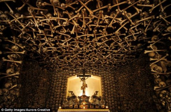 A step inside Kaplica Czasze in south-western Poland reveals a chilling site. Thousands of human bones, ravaged by war and disease, are stacked on top of each to construct the building's walls and ceilings.