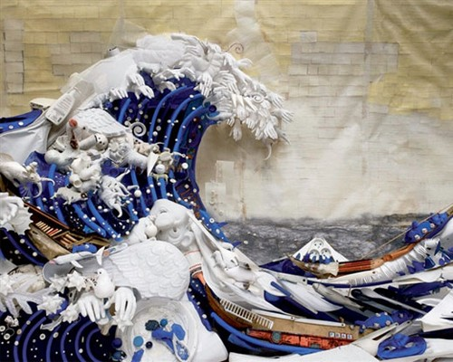 "Bernard Pras. Look closely at his art and you'll find everything from toilet paper and soda cans to slinkies and bird feathers. Pras often reinterprets famous photos and paintings — such as Hokusai's famous woodcut ""The Great Wave,"" which this piece reimagines — through his art of upcycled anamorphosis."