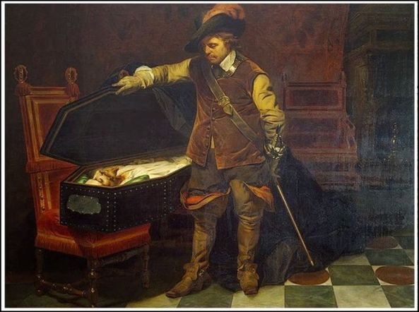 Paul Delaroche. Cromwell before the Coffin of Charles I. 1849