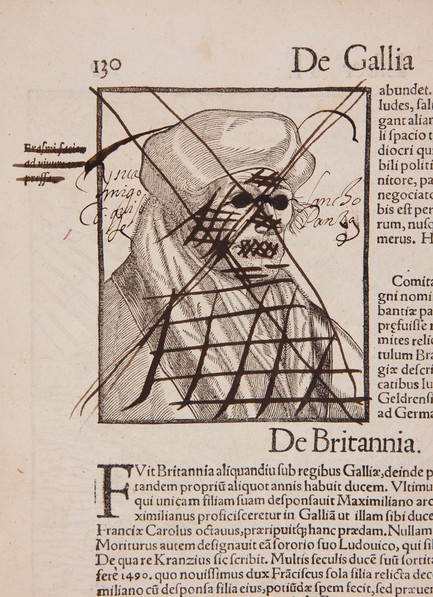 "Portrait of Erasmus of Rotterdam. Woodcut portrait by Henry Holzmuller after Hans Holbein the Younger.  Illustrated description of Rotterdam, according to Munster, glorious above all the fact that it was born and studied Erasmus.  The inscription on the margin: ""Portrait of Erasmus, made during his lifetime."""