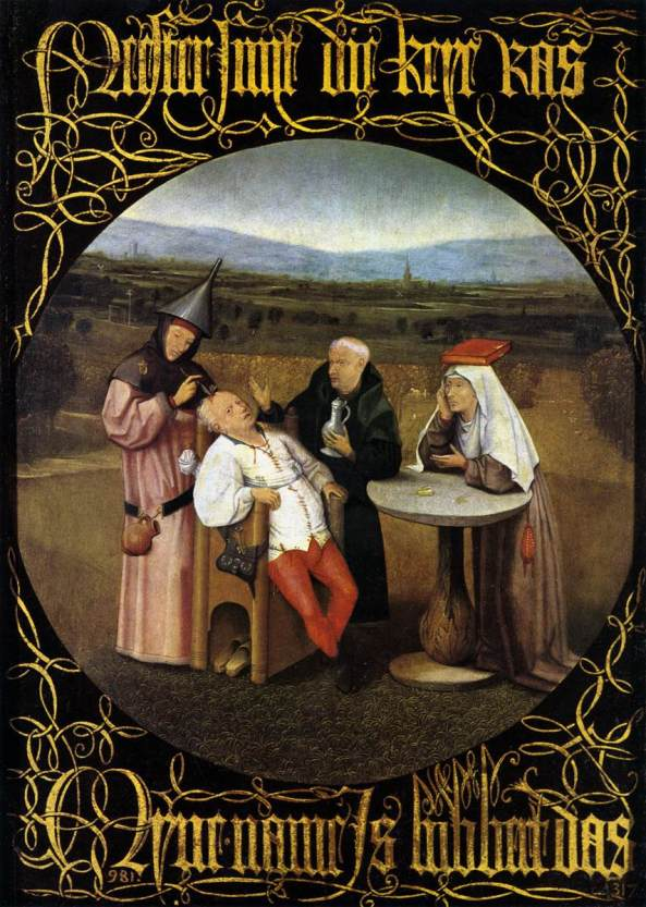 Hieronymus BOSCH, The Cure of Folly (Extraction of the Stone of Madness) 1475-80