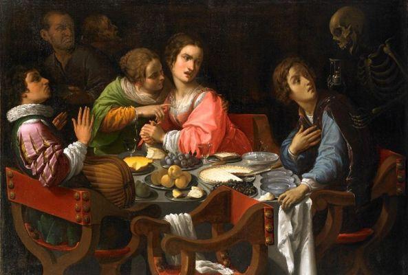 Memento Mori (Death comes to the dinner table), de Giovanni Martinelli (vers 1635). Huile sur toile (114,2 x 158 cm). Galerie G. Sarti, Paris.
