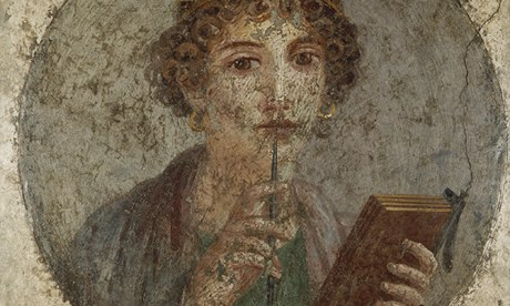 Fourth style fresco painting of Sappho holding a stylus
