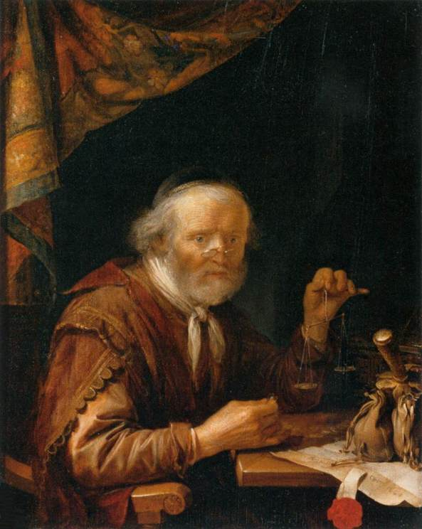 Gerrit DOU,  The Moneylender (1664) Oil on wood, 29 x 23 cm, Musée du Louvre, Paris
