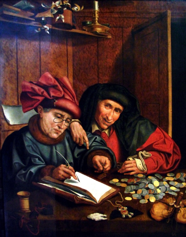 The counters of money (around 1575-1600); This table shows an anonymous composition after Marinus Claez. van Reymerswaele representing Antwerp loan sharks. Musée des Beaux-Arts.