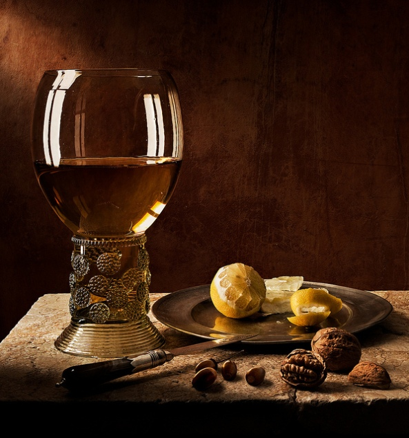 Still Life Roemer with nuts and lemon (after Pieter Claesz)