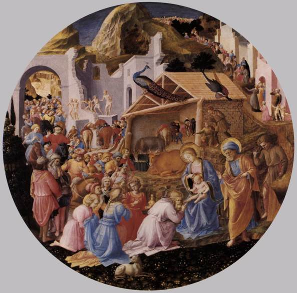 ANGELICO, Fra The Adoration of the Magi c. 1445 Panel, diameter 137,4 cm National Gallery of Art, Washington