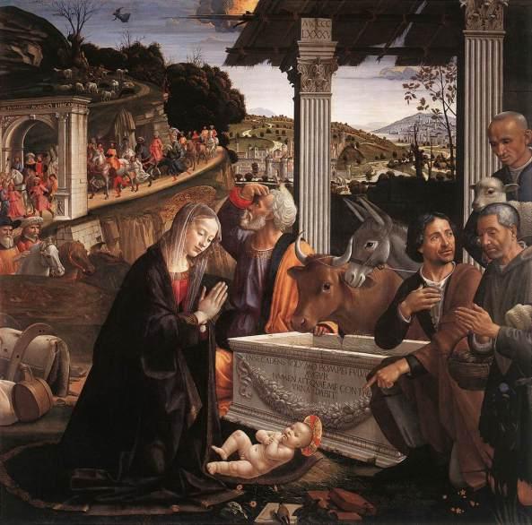 GHIRLANDAIO, Domenico Adoration of the Shepherds 1483-85 Panel, 167 x 167 cm Santa Trinità, Florence
