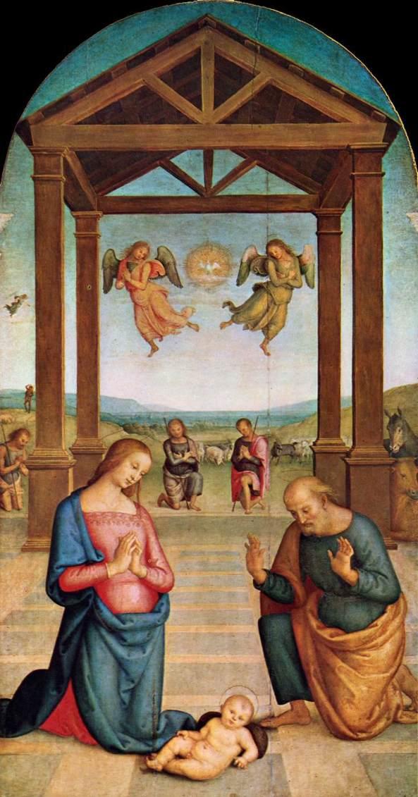 PERUGINO, Pietro Nativity (Il Presepio) 1506-10 Oil on wood, 263 x 147 cm Galleria Nazionale dell'Umbria, Perugia