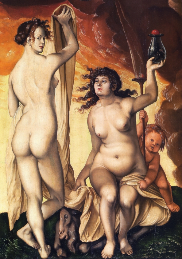 Hans Baldung Grien, The Weather Witches (1523), oil on panel, Städel Museum, Frankfurt. Français : Deux sorcières Date 1523