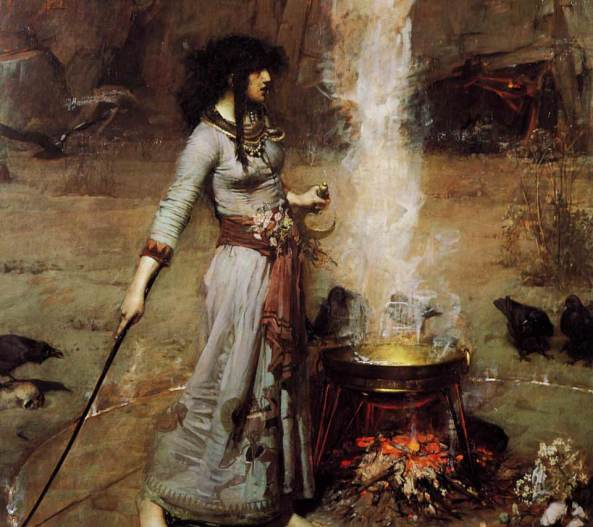 The Magic Circle (Waterhouse painting) The Magic Circle is an oil painting in the Pre-Raphaelite style, created in 1886 by John William Waterhouse. The painting depicts a witch or sorceress drawing a fiery magic circle on the earth to create a ritual space.
