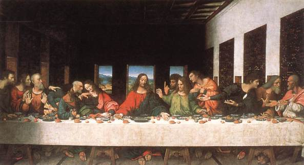 The Last Supper, ca. 1520, Andrea di Bartoli Solario, after Leonardo da Vinci, oil on canvas, currently in the Leonardo da Vinci Museum, Tongerlo Abbey.