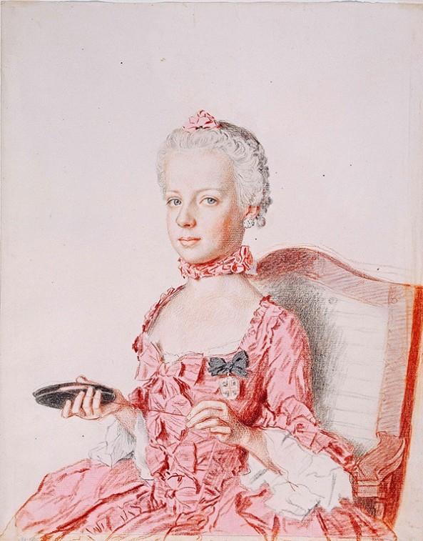 Jean-Etienne Liotard. Archduchess Marie Antoinette of Austria, 1762. Cabinet d'arts graphiques des Musées d'art et d'histoire, Geneva