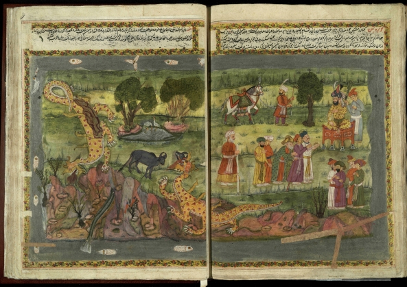 "'Island of Tin, plagued by dragons,' from 17th or 18th century manuscript copy of ""The Book of Wonders of the Age"" (St Andrews ms32(o))"