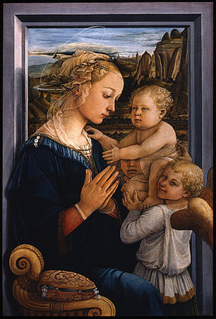 Fra Filippo Lippi, Madonna and Child with Two Angels, tempera on wood, c. 1455 - 1466 (Galleria degli Uffizi, Florence)