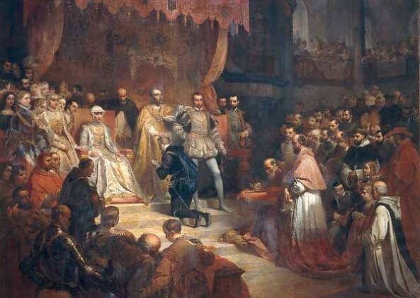 Abdication of Emperor Charles V. The painting shows his sister, Queen Mary of Hungary, wearing white even though she never wore anything but black after her husband's death