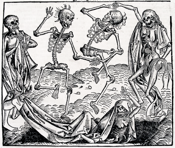 Inspired by the Black Death, The Dance of Death or Danse Macabre, an allegory