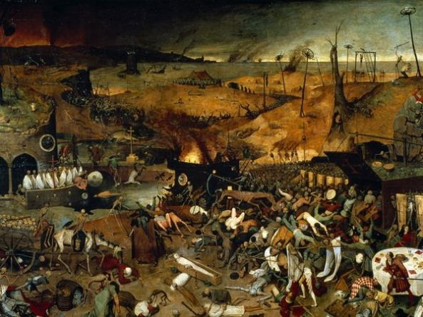 The Triumph of Death is an oil panel painting by Pieter Bruegel the Elder (1562). Image courtesy Museo del Prado, Madrid