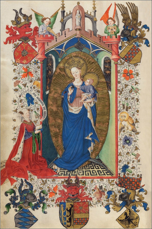 Catherine of Cleves Praying to the Virgin and Child