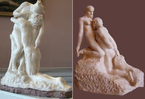 Camille Claudel. The Eternal Idol, 1888 (left). Auguste Rodin. The Eternal Idol, 1889 (right)