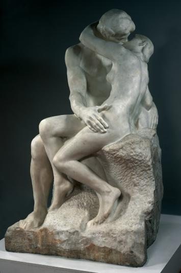 August Rodin's The Kiss originally represented Paolo and Francesca, two characters borrowed, once again, from Dante's Divine Comedy: slain by Francesca's husband who surprised them as they exchanged their first kiss, the two lovers were condemned to wander eternally through Hell.
