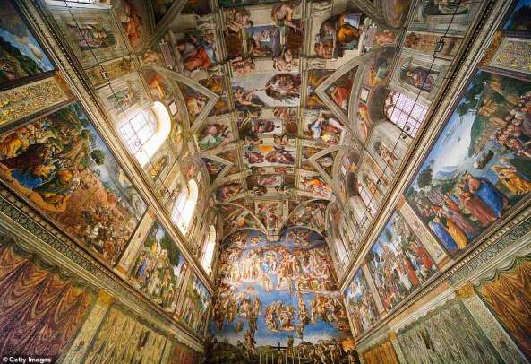 3. How the actual Sistine Chapel in the Vatican City looks. It was painted by artist Michelangelo between 1508 and 1512